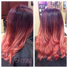Red violet and rose gold ombré