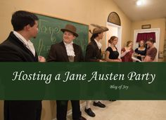 Throwing a Jane Austen Party. An evening in Regency England. Jane Austen, Host A Party, Tea Party, Party Themes, Themed Parties, Party Ideas, Grown Up Parties, Joy Of Life, Pride And Prejudice