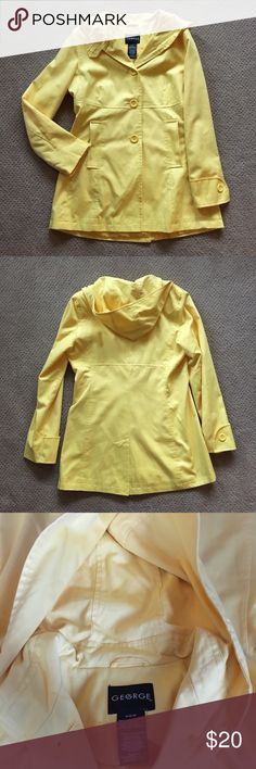 Bright Canary Yellow Jacket This coat is so cute! I wore this only a couple of times. It looks adorable with a pair of blue jeans and pumps! I wish I was more adventurous to wear yellow. I would consider this as a lightweight hooded jacket with polyester inside which makes it comfortable to wear with a tshirt or with a sweater. The color is a bright yellow. George Jackets & Coats