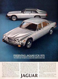 1979 Jaguar original vintage advertisement. Features the Sedan and Coupe models. Optional aluminum V-12 engine available.