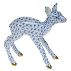 Herend Fawn Hand Painted Porcelain Figurine in Blue Fishnet w Gold or Silver Accents.