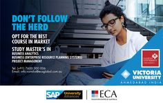 First Australian Masters degree offered in India with Dual Masters Award from an Indian Partner university-Ganpat University Victoria University -India introduces Masters Programs for the students who desire to get an International Qualification. Master of Enterprise Resource Planning (ERP)  Master of Business Analytics  Masters of Project Management.  #internationallyrecognisedmastersCourse #BusinessAnalytics #ERPsystems #ProjectManagement