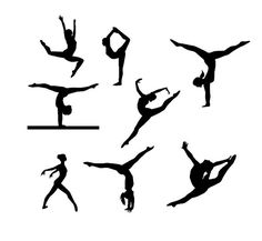 gymnast design svg, gymnastics silhouette SVG and DXF patterned Cut File for Silhouette and Cricut machines, instant download, athlete svg