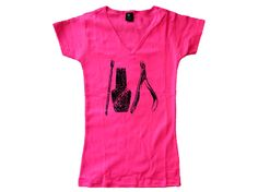Nail  tech technician distressed print pink v neck women or teens t shirt -fit the body by mycooltshirt on Etsy