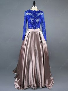Modest Ball Gown Scalloped Neck Tulle Elastic Woven Satin Sweep Train Appliques Lace Long Sleeve Two Piece Prom Dresses Red Lace Prom Dress, Fitted Prom Dresses, Simple Prom Dress, Black Prom Dresses, Short Tight Prom Dresses, Prom Dresses Long With Sleeves, Long Prom Gowns, Two Piece Evening Dresses, Lace Evening Dresses