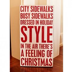 City Sidewalks Christmas Glitter Box Sign  19125