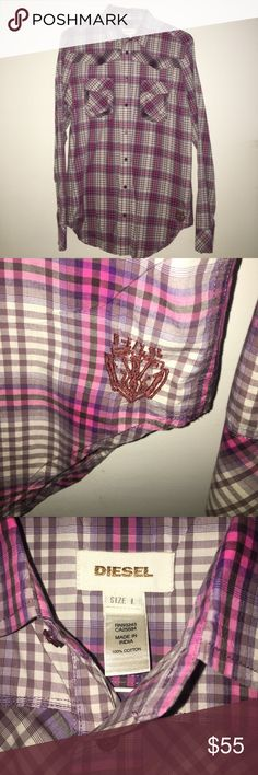 Diesel Men's Button Down Shirt Large Never Worn 100% Authentic Diesel Men's Button Down Shirt.  It is too big for me as I️ am a small or medium. This shirt is a size Large. Never worn.  Stripes of different shades of pink purple and white throughout the shirt. Sick shirt for a night out. Diesel Shirts Casual Button Down Shirts