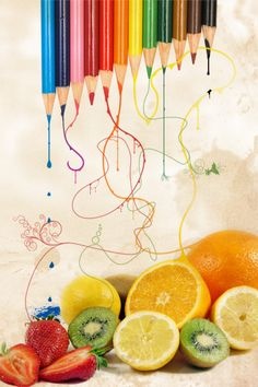 This photo montage makes use of very bright colors and the fruit blends well with the crayons.