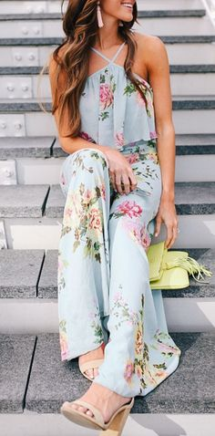 Floral Jumpsuit: Love this outfit: CollectiveStyles.com ♥ Fashion | Women apparel | Women's Clothes | Dresses | Outfits | Rompers | PlaySuits | Boohoo | Express | Off The Shoulder | #clothes #maxi #fashion #dresses #women #tops #shop