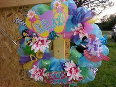 beach/Hawaiian wreath by meshwreathsandmore on Etsy, $40.00