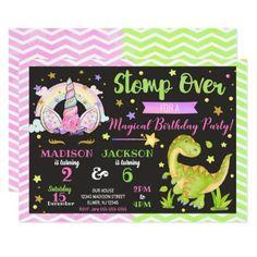 Unicorn and Dinosaur Joint Birthday Invitation