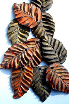 Polymer clay leaves, Lisa Peters Art.