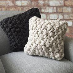 Collumpton Cushion, Lauren Aston Designs. Chunky hand knit cushion
