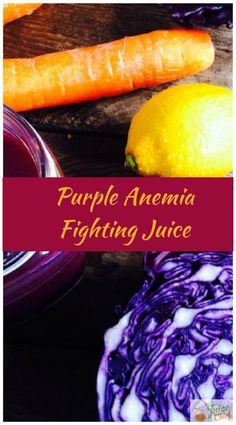 Purple Anemia Fighting Juice Carrots may not only be the best on this list. Red Cabbage, Lemons, Apples as well as Canteloupe Melon are said to help increase red blood cells. Get the full recipe today via The Juice Chief. Healthy Juice Recipes, Healthy Juices, Healthy Drinks, Healthy Food, Lemon Smoothie, Juice Smoothie, Smoothies, Nutrition Tips, Health And Nutrition