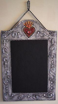 Burning Heart - Decorative Mexican Wrought Iron Kitchen Chalkboard - Original Hand Crafted Design  ART plus FUNCTION http://zeezeechalkboards.blogspot.ca