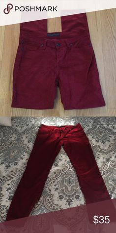 Burgundy skinny cords Rock&Republic Like new burgundy/cranberry colored skinny corduroy pants. Sooo soft!❤️ Rock & Republic Pants