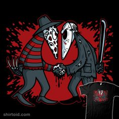 """""""Slasher vs Slasher"""" by Mike Handy Art Freddy Krueger and Jason Voorhees in the style of Spy vs. Halloween Horror Movies, Scary Halloween, Arte Horror, Horror Art, Spy Vs Spy, Scary People, Slasher Movies, Horror Show, Cool Cartoons"""
