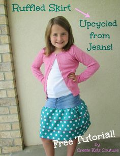 Ruffled Skirt upcycled from Jeans - Free Tutorial!