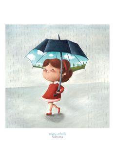 Happy Umbrella di AriLand (Arianna Usai) su DaWanda.com