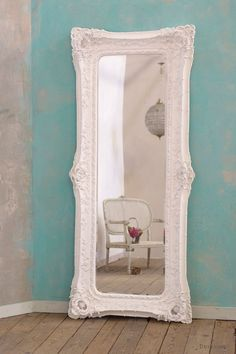 White Clay Paint Bevelled Floor Mirror : For sale at www.DUSX.com