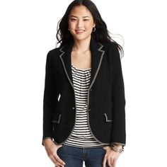 LOFT Cotton Tipped Sweater Blazer - I like the fit but would prefer a tweedy blue fabric