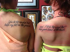 You be the anchor that keeps my feet on the ground... And I'll be with wings that keeps your head in the clouds. ** Got this tattoo with my sister. Love it so much!