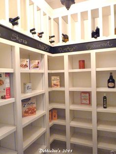 Great idea for wine slots in the pantry