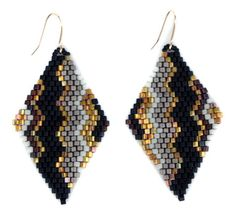 diamond drop earrings ~ black/gold adri