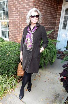 @susanstreet from Fifty Not Frumpy loves how her J.Jill corduroy shirtdress is so versatile.
