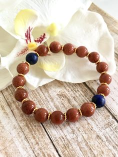 Goldstone Lapis Lazuli Beaded Bracelets, Healing Crystals, Spiritual Jewelry, Gifts for Her, Birthday Gift Ideas, Handcrafted Gifts by DesignsbyLolaBelle on Etsy