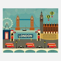 London, England Skyline Art - Destination Travel Wall Art Poster Print for Home, Office, and Nursery 11 x 14 - style sold by Loose Petals. Shop more products from Loose Petals on Storenvy, the home of independent small businesses all over the world. City Poster, Poster Art, Poster Prints, Art Posters, London Illustration, Gravure Illustration, London Decor, London Wall, Art Mural Voyage