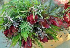 protea, leucandendron, grevillea and dainty white waxflower.