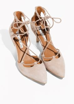 & Other Stories image 2 of Suede Lacing Pumps in Light Beige