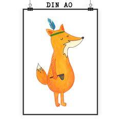 Poster DIN A0 Fuchs Indianer aus Papier 160 Gramm  weiß - Das Original von Mr. & Mrs. Panda.  Jedes wunderschöne Poster aus dem Hause Mr. & Mrs. Panda ist mit Liebe handgezeichnet und entworfen. Wir liefern es sicher und schnell im Format DIN A0 zu dir nach Hause. Das Format ist 841 mm x 1189 mm.    Über unser Motiv Fuchs Indianer  Die Fox-Edition ist eine besonders liebevolle Kollektion von Mr. & Mrs. Panda. Jedes Motiv ist - wie immer bei Mr. & Mrs. Panda - handgezeichnet und wird in…