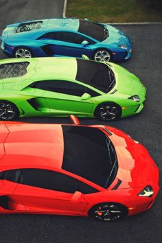 Lamborghini aventadors - blue green and red