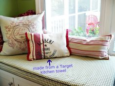 window seat pillows. One is made from a Target towel and one is from a table runner.