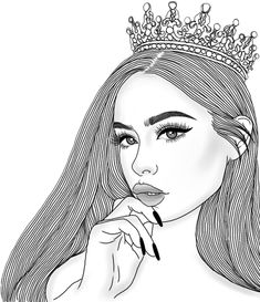 Discover the coolest #crown #makeup #queen #princess #eyelashes #eyeliner #blackandwhite #black #white #sketch #drawing #lineart #art #hipster #tumblr #girl