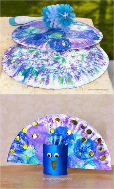 Pretty Peacock Craft – Dish Brush Painting Have you eve. - Pretty Peacock Craft – Dish Brush Painting Have you ever done dish brush painting? See how we did this fun painting technique which we then turned into a paper plate peacock craft! Preschool Crafts, Fun Crafts, Arts And Crafts, Paper Crafts, Paper Plate Crafts For Kids, Ocean Crafts, Paper Plate Art, Paper Plates, Toddler Art