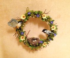 Wonderful spring wreath - twigs, spring flowers, nest with eggs, and a pair of chickadees