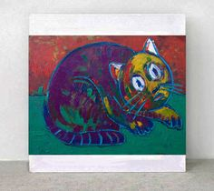 Original Painting    CAT  by ARTGALERYPAINTING on Etsy, $250.00
