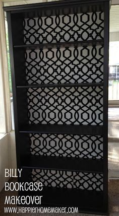 Use fabric on the back of a cheap bookcase for a high end look!