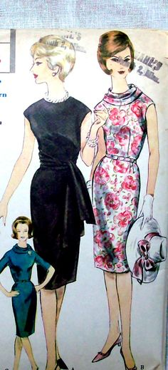 Vogue Vintage Sewing Pattern 1960s Wiggle Dress - Vogue 5327 Bust 34 Mad Men Style