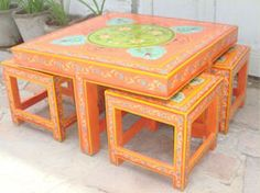 Indian Painted furniture india. online shopping. beds. tables. sofas. dining. cabinets.