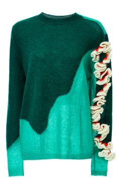 Medium delpozo green alpaca silk and wool ruffle shouldered mohair knit