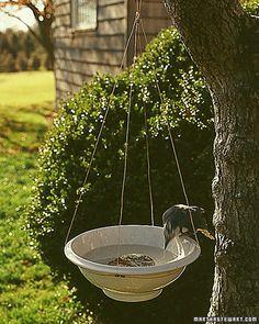 handmade hanging bird basin,diy any bowl with a lip will work