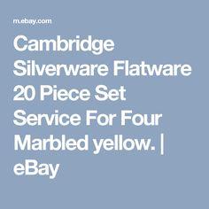 Cambridge Silverware Flatware 20 Piece Set Service For Four Marbled yellow.   eBay