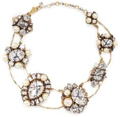 ERICKSON BEAMON 'Stratosphere' crystal faux pearl cluster necklace - Featuring seven stations of faux pearl and crystal clusters seemingly bound together with cross chains, this dense necklace from Erickson Beamon is highly glamourous with an adventurous spin.