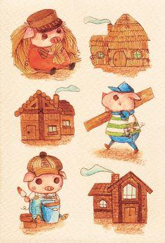 「3ひきの子ブタ」  「Three Little Pigs」  Illustration : Shoko.h