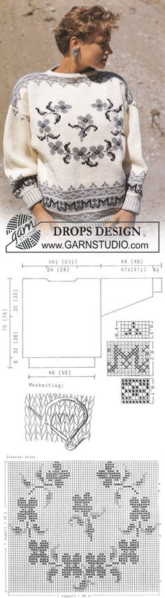 "DROPS jumper with pattern borders and flower motif in ""Alaska"". Size S-L. ~ DROPS Design | вязание(жаккард,вышивка) | Постила"