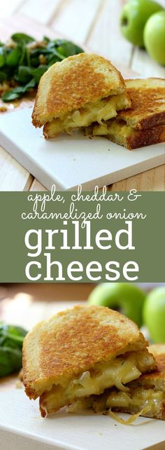 (Cut Into Finger-Like Portions) Cheddar cheese, apples, caramelized onion, and rosemary meet in-between two toasty slices of buttery bread, in this recipe for Grilled Cheese with Apples and Caramelized Onion. So yummy! Grilled Sandwich, Soup And Sandwich, Sandwich Recipes, Tostadas, Tacos, Real Food Recipes, Vegetarian Recipes, Cooking Recipes, Yummy Food